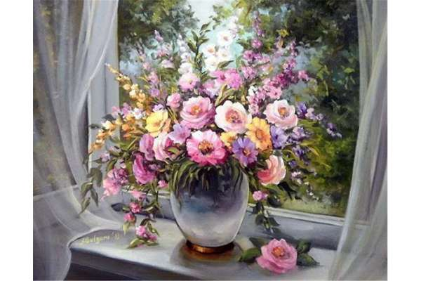 Diamond Painting Set Blumen am Fenster